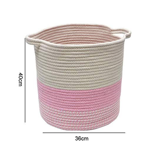 Asteria-Ashley Handmade Cotton Fabric Laundry Basket for Toys Organizer Dirty Clothes Laundry Hamper Shopping Picnic Basket for Bike,Pink-Tall-L]()