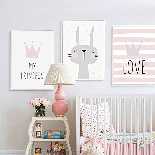 Juego de 3 Cuadros Infantiles Niña Poster 30x40 Láminas Conejo My PRINCESS LOVE