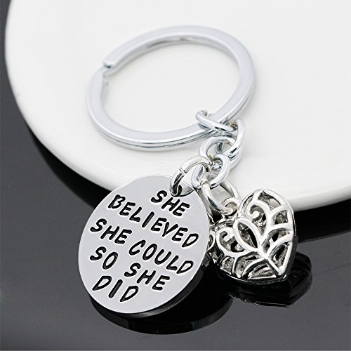 Family Friend Gift Silver She Believed She Could So She Did Double Pendant Key Chain Ring for Women Girl Photo #3