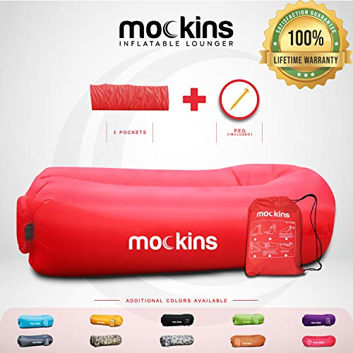 Mockins Red Inflatable Lounger Air Sofa Perfect for Beach Chair Camping Chairs or Portable Hammock and Includes Travel Bag Pouch and Pockets | Easy to Use Camping Accessories in USA