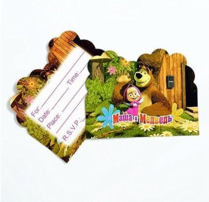 Amazon.com: 10 tarjetas de invitación Masha y el oso para ...