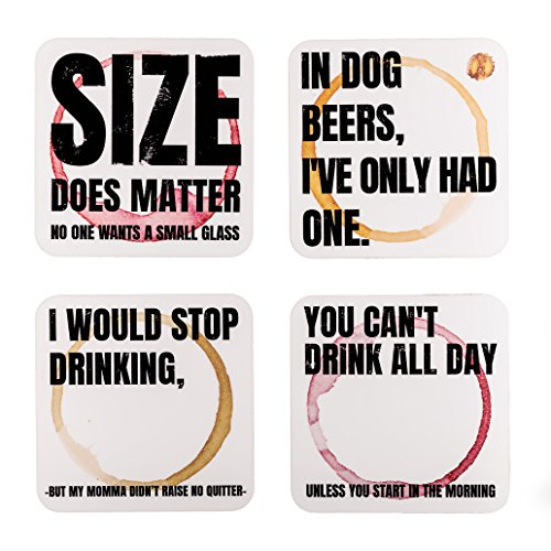 Ultimate Novelty Coasters Set By Hopping Barbalé | 4 x Witty & Sassy 3.5 x 3.5 Hardboard Coasters For Drinks & Glasses | Stronger & Thicker Reusable Beer Mats With Funny Quotes | Perfect Gift Idea