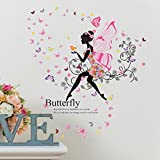 SWORNA Nature Series SN047 Flower Butterfly Girl Removable Vinyl DIY Wall Art Mural Decor Sticker Decal for Lady Kid Bedroom Living Room Playroom Kindergarten Classroom School Nursery Room 48