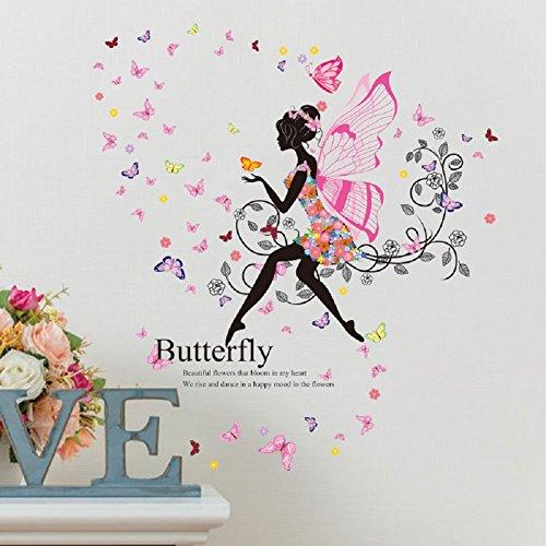 SWORNA Nature Series SN047 Flower Butterfly Girl Removable Vinyl DIY Wall Art Mural Decor Sticker Decal for Lady Kid Bedroom Living Room Playroom Kindergarten Classroom School Nursery Room 48