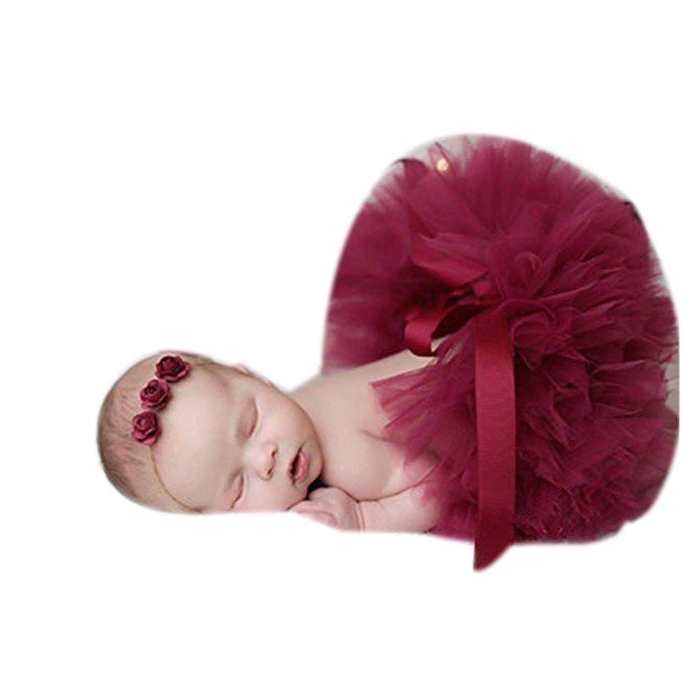 Binlunnu Gonna tut/ù fatta a uncinetto con cappellino ideale per i servizi fotografici dei neonati bianco White