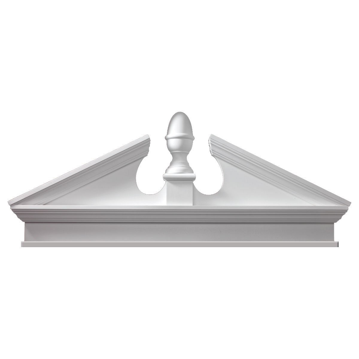 Fypon CAP75BT 75''W x 79 1/2''OW x 26 1/8''H x 3 1/8''P, Pitch 6/12 Combination Acorn Pediment, Urethane
