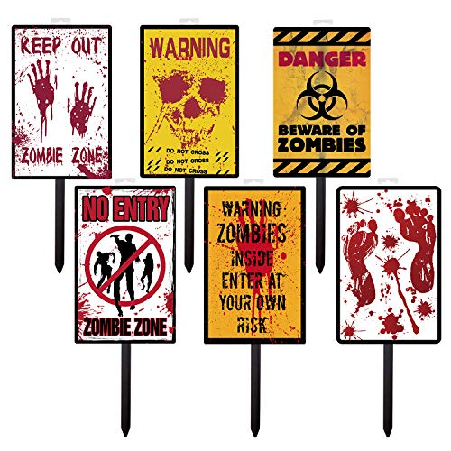 Zombie Yard Sign & Outdoor Lawn Decorations(9 Pieces) Yard Stake Signs,Skull,Zombie,Blood footprints for Outdoor/Indoor Decorations, Party Favors