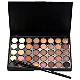 Doinshop 40 Color Cosmetic Matte Eyeshadow Shimmer Powders Makeup Palette+ Brush Set (A)