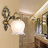 ZQ@QX Simple Traditional decorative wall lamp bedroom bedside hotel coffee shop Wall lamp Pastoral retro Wall lamp , bronze single head