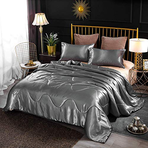 Enman-home Holawakaka Luxurious Solid Satin Silk Like Comforter Set Ultra Soft Silky Quilt Breathable Bedding Bed-in-A-Bag Queen Size (Grey) (Silk Quilt Bedding)