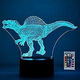 SOKY Dinosaurio Luz de la Noche 3D LED Lámpara Llusión Deco 7 Colores Cambian con Control Remoto - Regalos para Niños
