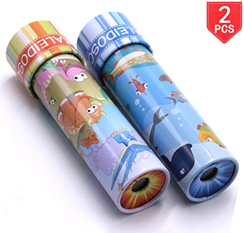FIVOENDAR Pack of 2 - Classic Kaleidoscope Toy with Metal Body - 2 Animal Designs, Great Educational Toys Birthday Present for Ocean Animals & Dinosaur Lovers