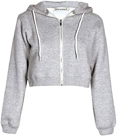 Womens V-Neck Crop Hoodie Ladies Long Sleeve Plain Sweatshirt Pullover Top