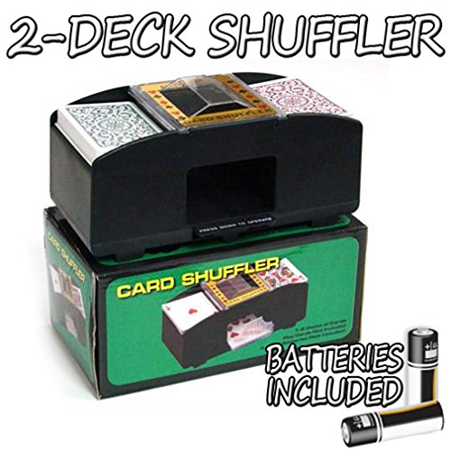 - Brybelly 2 Deck Automatic Card Shuffler w/2 Free Decks of Bicycle Playing Cards – Battery-Operated Electric Shuffler - Great for Home & Tournament Use for Classic Poker & Trading Card Games