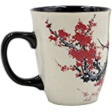 Asmwo Color Changing Heat Sensitive Magic Funny Mug Morning Coffee Tea Plum Blossom Porcelain Mugs Gift Mugs for Mom, 16oz, Black Change Glow Red Valentine's Day Gifts