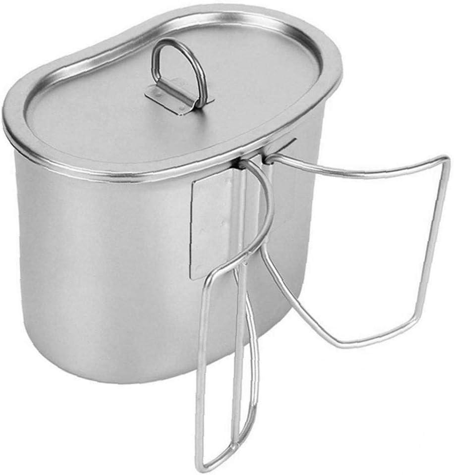 DierCosy Tools Cantina Copa Acampar Taza del Agua de cocción Orejas Olla de Acero Inoxidable con Tapa Doble Cookware Que acampa al Aire Libre Senderismo con Mochila para Picnic (Plata)