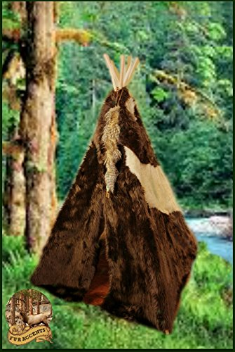 (Fur Accents 6' Kids Play Tent / Indian Teepee / Faux Fur Cape / Pinto Brown and Tan Plush Fur and Ultra Suede / Leather Tie and Colored Bead Trim)