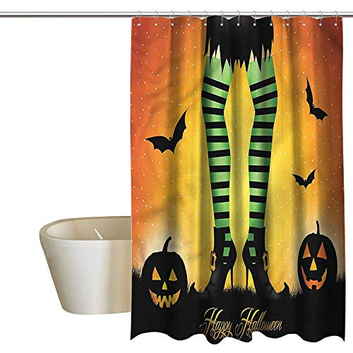 Denruny Shower Curtains Black History Halloween,Cartoon Witch,W36 x L72,Shower Curtain for Shower stall -