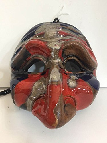 Maschera PULCINELLA in Terracotta Rossa Blu 14 X 14 CM  Amazon.it ... 386d4429b3c9