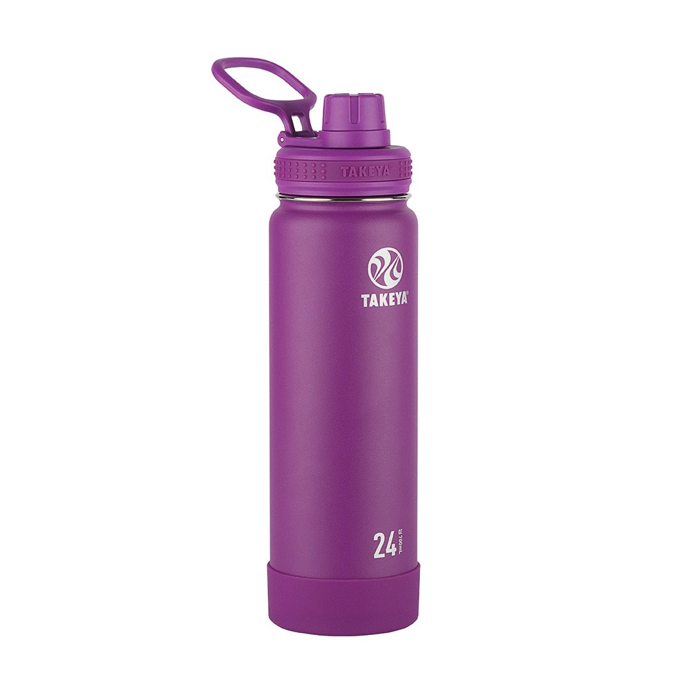 Takeya Actives Insulated Stainless Water Bottle with Insulated Spout Lid, 24oz, Violet by Takeya