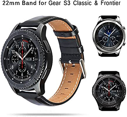 TOROTOP Band Compatible for Gear S3 Band/Galaxy Watch 46mm Bands, 22MM Leather Strap Replacement Sport Band/Strap Compatible for Samsung Gear S3 ...