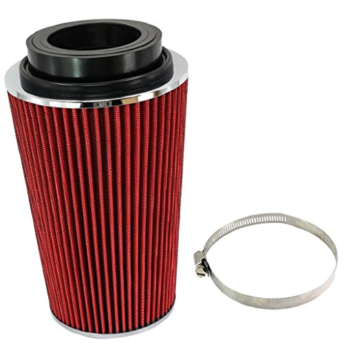 3' Intake Filter - Dovewill Red 3'' 3.5'' 4'' Car Air Intake Inlet Round Cone Filter Washable