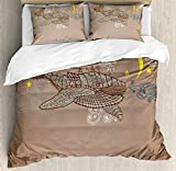 Duvet Cover Set Whale Steampunk Whale Flying in the Air with Moons and Stars Artistic Hand Drawing Ultra Soft Breathable Durable Twill Plush 4 Pcs Bedding Sets for Kids/Teens/Adults Twin Size