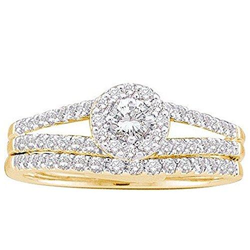 0.65 Carat (ctw) 14K Yellow Gold Round Diamond Ladies Split Shank Halo Bridal Wedding Ring Set With Round Center -