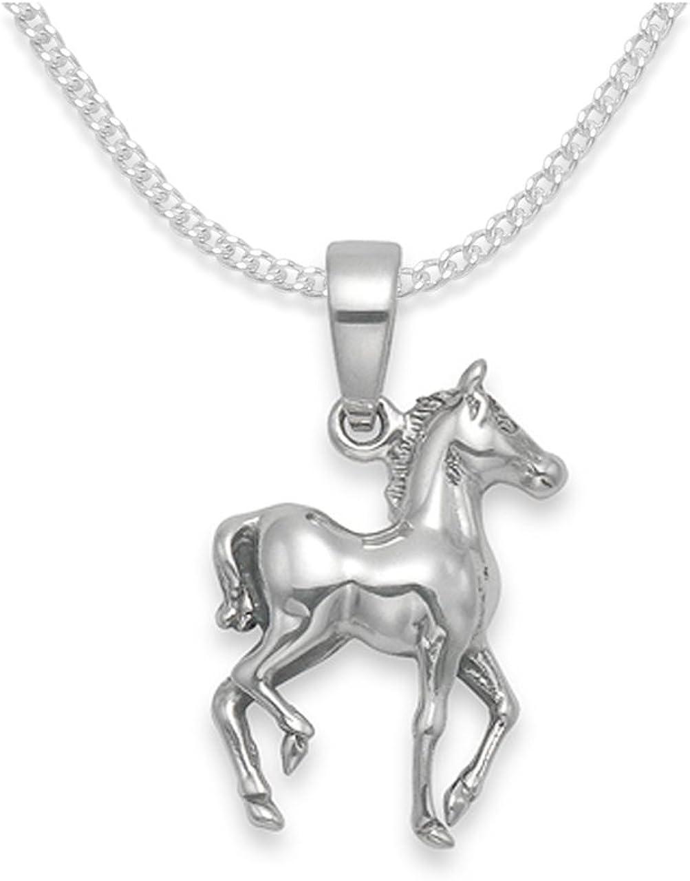 925 de plata de ley Collar con colgante en forma de caballo a presión para niños 38,1 cm - Exclusive de corazones de cadena de caja de regalo y tarjeta de regalo para that special Present.