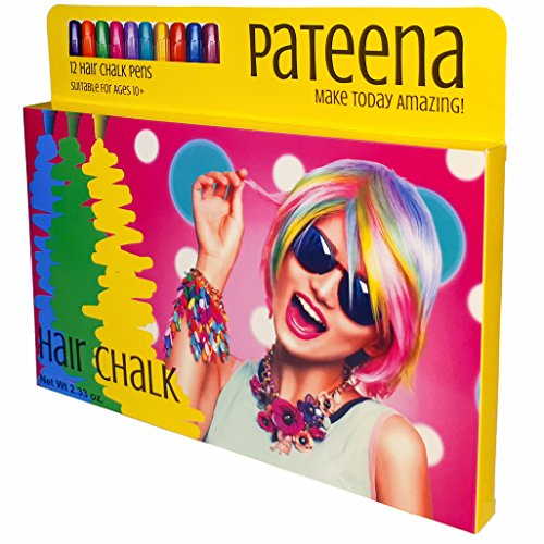 Hair Chalk Set of 12 Pens | Temporary Hair Color | Safe Non-Toxic Hair Dye for Kids | Fun, Easy to Use, No Mess, Recommended Gift | Suits Girls, Boys, Teens and Adults | All Hair Colors | Pateena