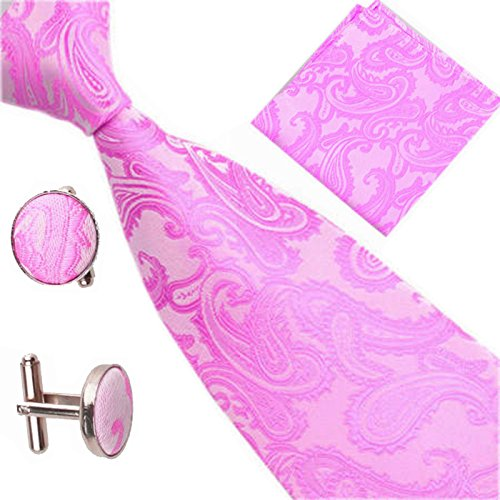 Patterned Pocket Various Cufflinks Tie Set Square Pink of Paisley Men Occasions xnqAUgqYW