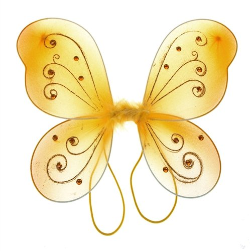 Gold Costume Wings (Homeford Firefly Imports Organza Nylon Butterfly Wings with Glitters, 12-Inch,)