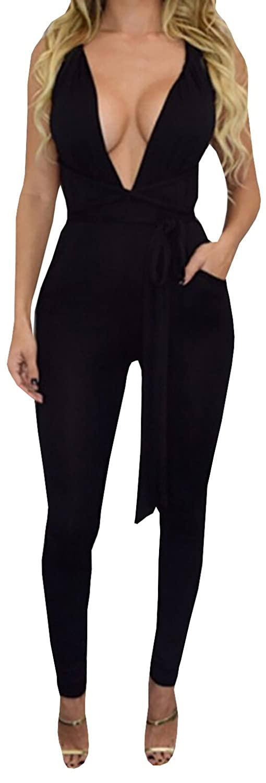 Lovaru Women's Sexy Fashion Bandage Deep V-Neck Backless Jumpsuit