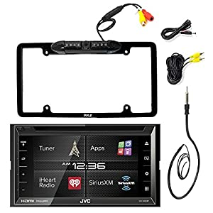 "JVC KW-V620BT 6.8"" Inch Double DIN Car CD DVD USB Bluetooth Stereo Receiver Bundle Combo With Kenwood Rearview Wide Angle View Backup Camera, Enrock 22"" AM/FM Radio Antenna"