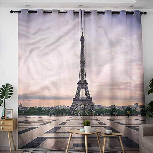 XXANS Extra Wide Patio Door Curtain,Paris,Trocadero and Eiffel Tower,Curtains for Living Room,W84x96L