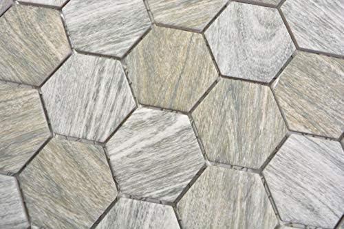 Keramik Mosaik Hexagon Holz grau Mosaikfliese Wand Fliesenspiegel K/üche Bad