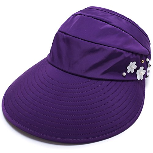 LLmoway Ladies Breathable Visor Hat Wide Large Brim Cap UV Protection Sun Hats Dry Fit Dark Purple