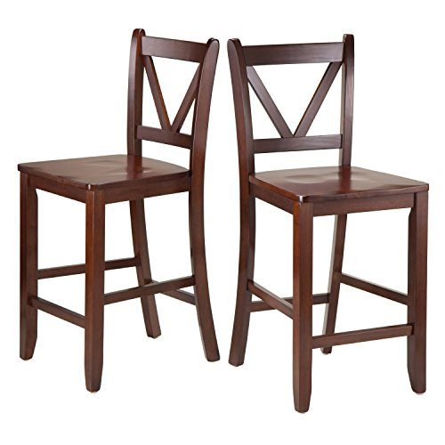 Winsome Victor 2-Piece V-Back Counter Stools, 24-Inch, Brown (Counter Brown Wood)
