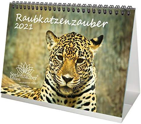 Raubkatzenzauber DIN A5 Tischkalender für 2021 verschiedene Raubkatzen - Geschenkset Inhalt: 1x Kalender, 1x Weihnachts- und 1x Grußkarte (insgesamt 3 Teile)