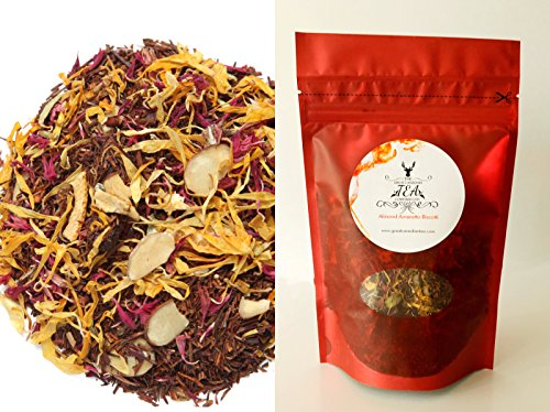 Rooibos Tea - Loose Leaf Red Tea - Almond Amaretto Biscotti - Caffeine Free Herbal Tea with real Almond Pcs - Delicious either Hot or Iced