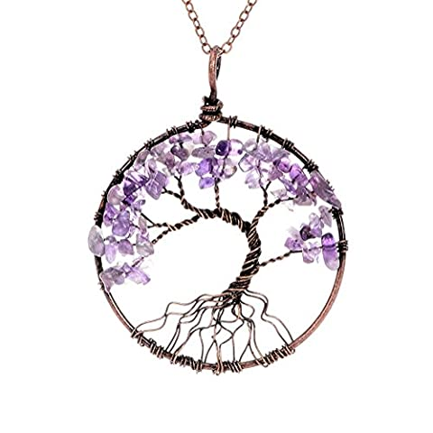 eGlomart Tree of Life Necklace Handmade Copper Wire Wrapped Pendant Gemstone Birthstone Healing - Life Pendant Wire