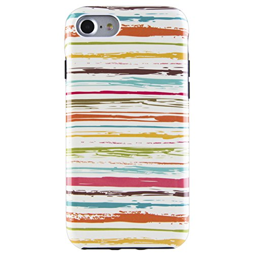 (Dimaka Case for iPhone 7 Case, iPhone 8 Case, Irregular Colored Stripes Pattern for Girls, 2 Layer TPU + PC Print Protective Cover Case for iPhone 7 and iPhone 8 (Hand Drawn Stripe 67))
