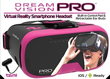 Tzumi Dream Vision Prp Virtual Reality Headset,Built-in Control Pad&Retracteable Ear Buds with Mic for phone Calls,fits all phones up to 6 inch, 360 Video Capability, Works with all VR app Pink by Tzumi (Image #4)