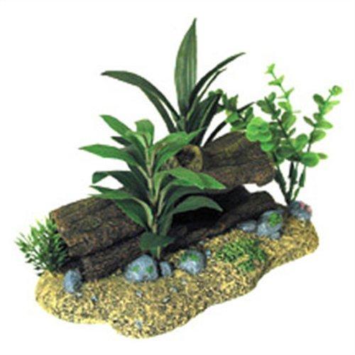 - Exotic Environments Log Cavern with Plants Aquarium Ornament