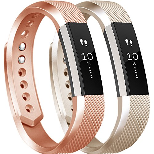 Tobfit 2Pcs Fitbit Alta Bands/Fitbit Alta HR Bands for Women and Men, Smooth TPU Classic Accessory Band Wristband for Fitbit Alta/Fitbit Alta HR, Small, Gold+Rose Gold