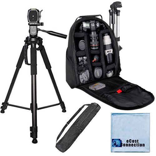 eCostConnection 72インチ エリートシリーズ フルサイズ カメラ三脚 デジタル一眼レフカメラ/ビデオカメラ用 + カメラバックパック マイクロファイバークロス付き   B00LNJLLZA