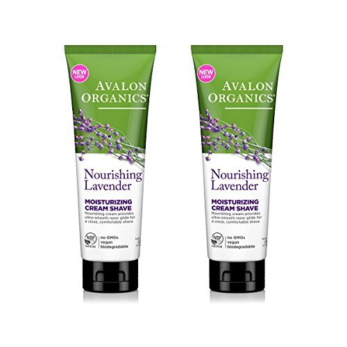 Avalon Organics Nourishing Lavender Moisturizing Cream Shave With Lavender Essential Oil, Aloe, Beta-glucan and Plant Extracts, 8 oz (227 g) (Pack of 2) -