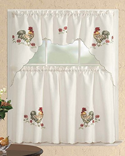 Amazon Kitchen Curtains Discount Store: 3 Piece Kitchen Curtain Set: 2 Tiers And 1 Valance Beige