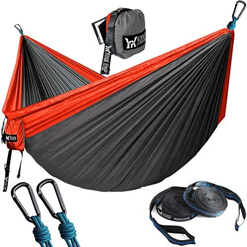 WINNER OUTFITTERS Double Camping Hammock with Straps – Lightweight Nylon Portable Hammock, Best Parachute Double Hammock for Backpacking, Camping, Travel, Beach, Yard. 118 L x 78 W Red Charcoal