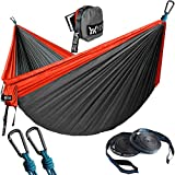 """WINNER OUTFITTERS Double Camping Hammock with Straps - Lightweight Nylon Portable Hammock, Best Parachute Double Hammock for Backpacking, Camping, Travel, Beach, Yard. 118""""(L) x 78""""(W) Red/Charcoal"""